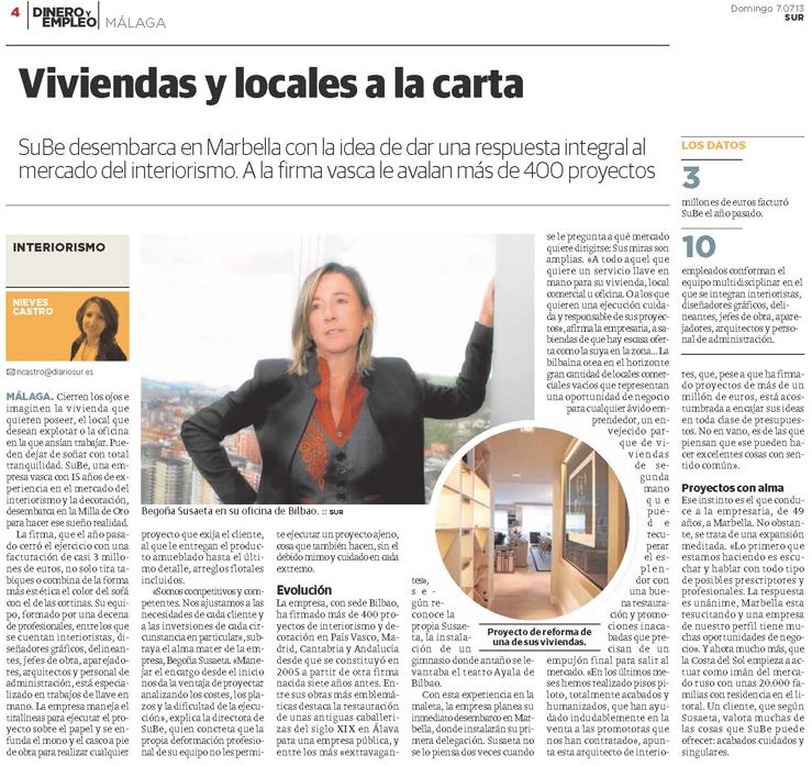 Sube Susaeta Interiorismo Marbella reportaje en Diario Sur