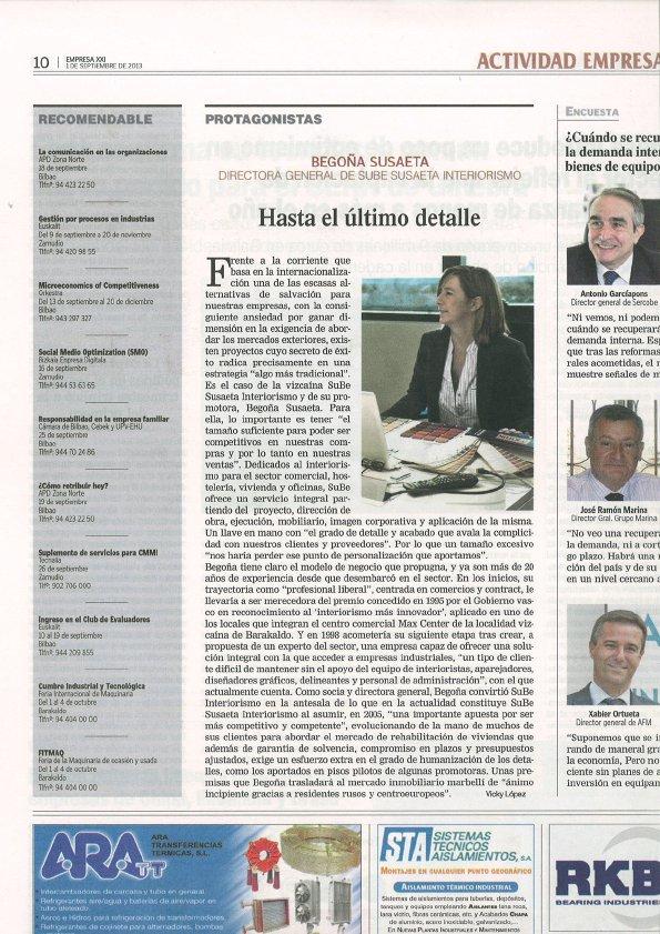 Empresa XXI habla de Begoña Susaeta de Sube Interiorismo Bilbao