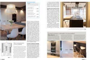 Decoracion de cocina de casa por diseñada por Sube Susaeta Interiorismo Bilbao, en la revista Interiores
