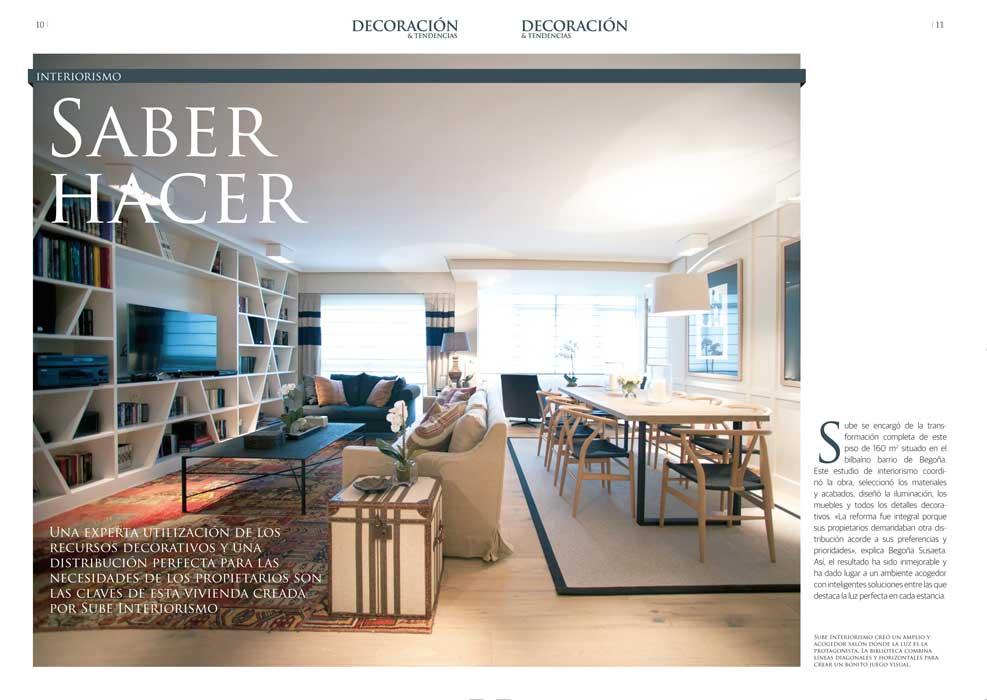 """Revista Decoración & Tendencias: Sube Susaeta Interiorismo """"Saber hacer"""". Artículo sobre el interiorismo de vivienda en Bilbao"""