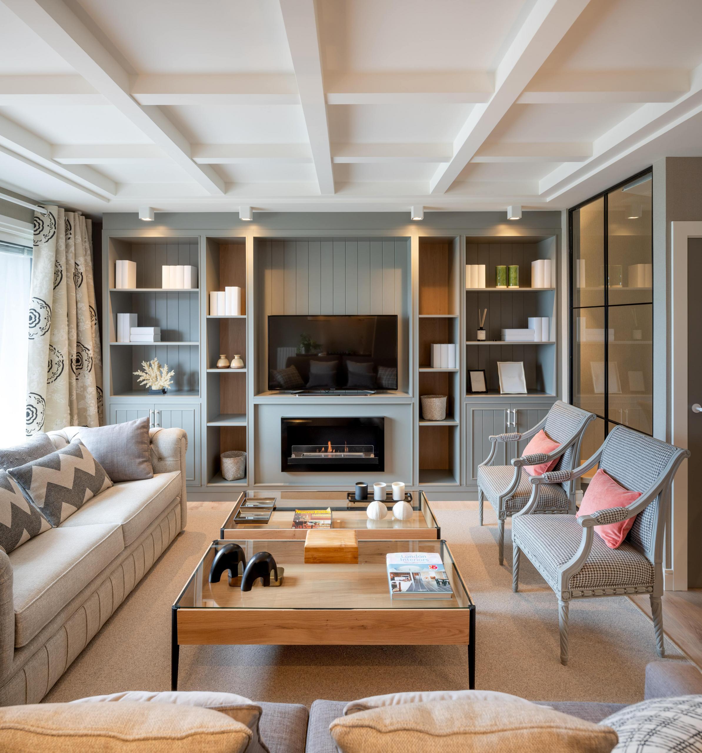 Diseño de biblioteca en salón
